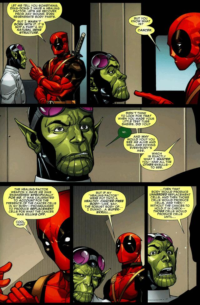 Deadpool tiết lộ với nhà khoa học của Skrull về bệnh ung thư.