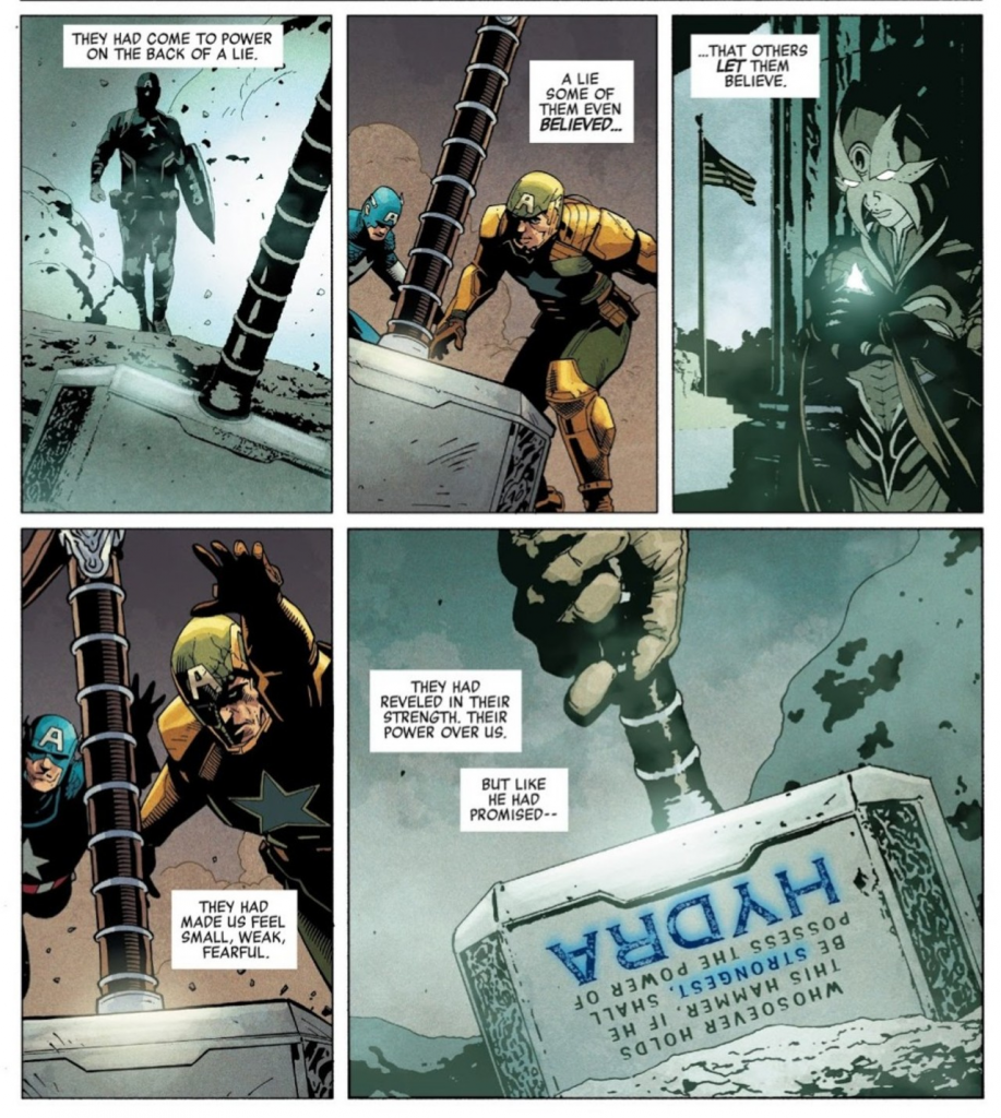 Nội dung bùa chú viết trên búa thay đổi trong Secret Empire #10