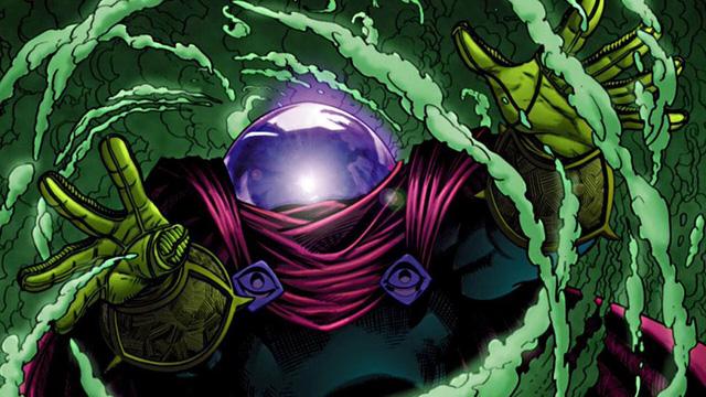 Tạo hình của Mysterio trong truyện tranh với mũ hình bể cá và áo choàng đỏ