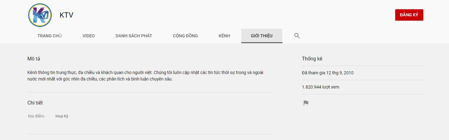 Kênh Youtube KTV của ông Việt Thành