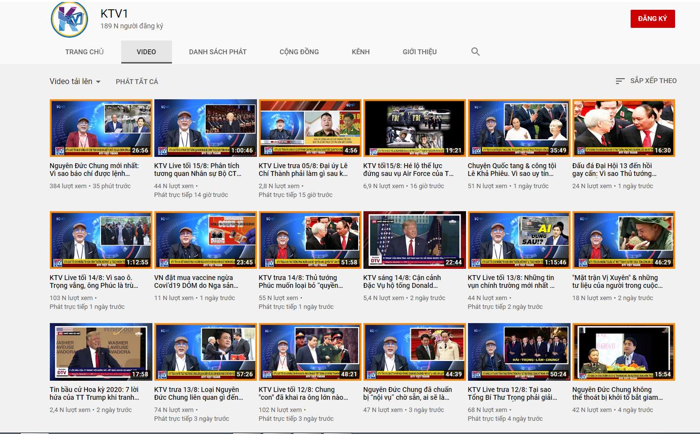 Cả 2 kênh KTV đều đăng tải các Video thời sự trong và ngoài nước