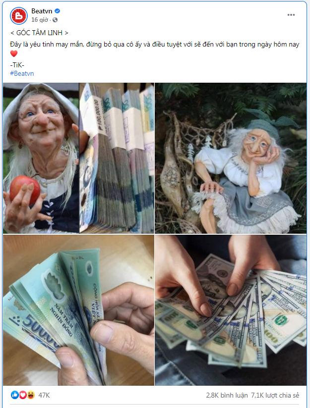 Hình ảnh bà lão yêu tinh may mắn trên facebook