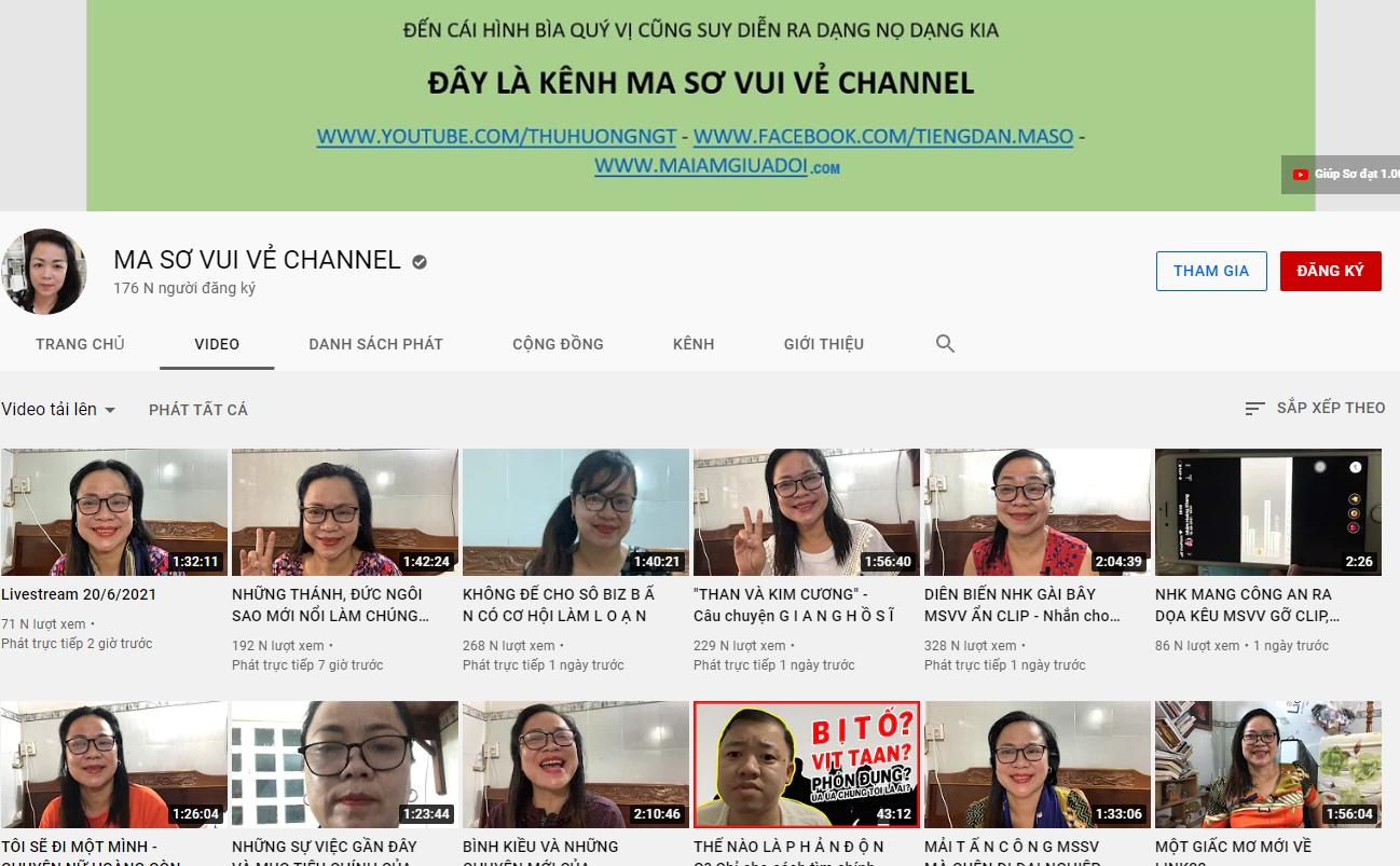Kênh Youtube của Ma Sơ Vui Vẻ Thu Hương có dấu tích chính chủ