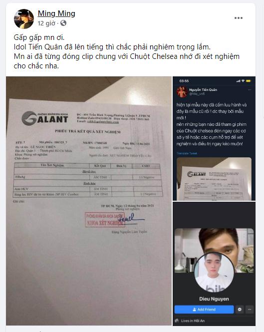 Các bài đăng tung tin Chuột Chealea nhiễm HIV
