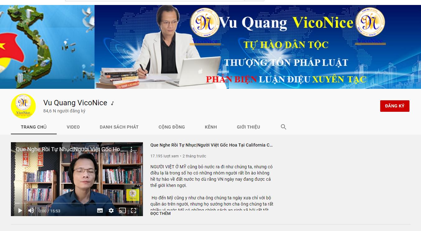 Kênh Youtube có dấu tích chính chủ của Vũ Quang VicoNice