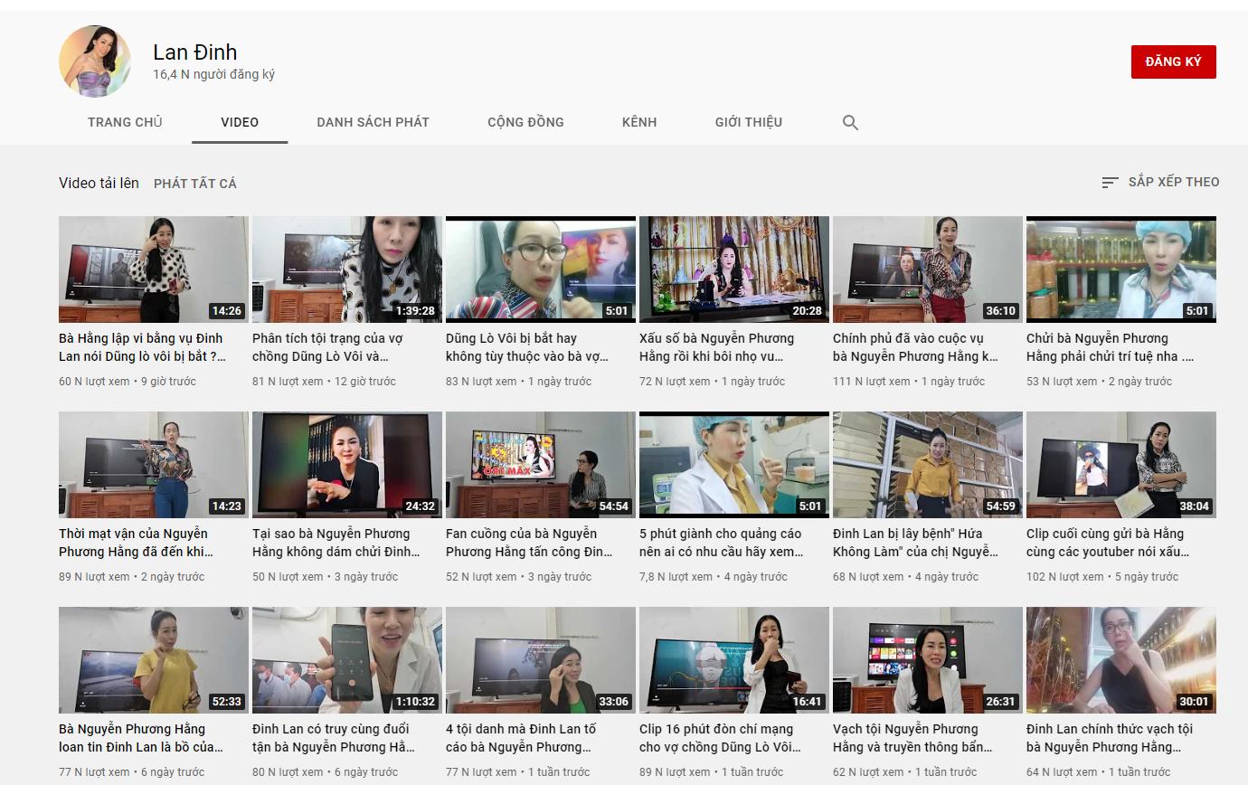 Kênh Youtube của Đinh Lan dùng để vu cáo vợ chồng ông Dũng bà Hằng