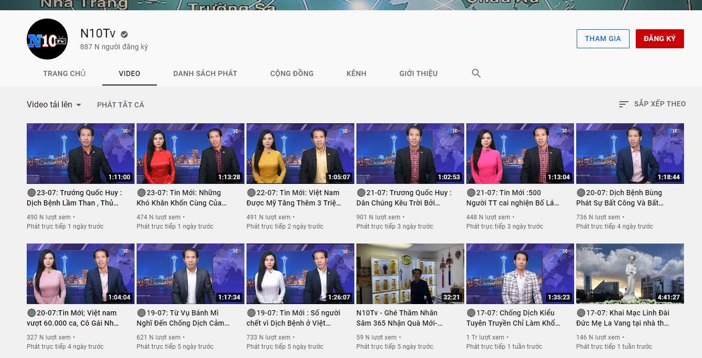 Kênh Youtube có tích xanh của Trương Quốc Huy