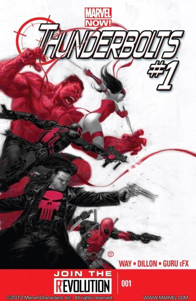 BìaThunderbolts# 1 (2012), bao gồm Red Hulk, Elektra, Agent Venom, Deadpool và Punisher.truyên tranh Marvel