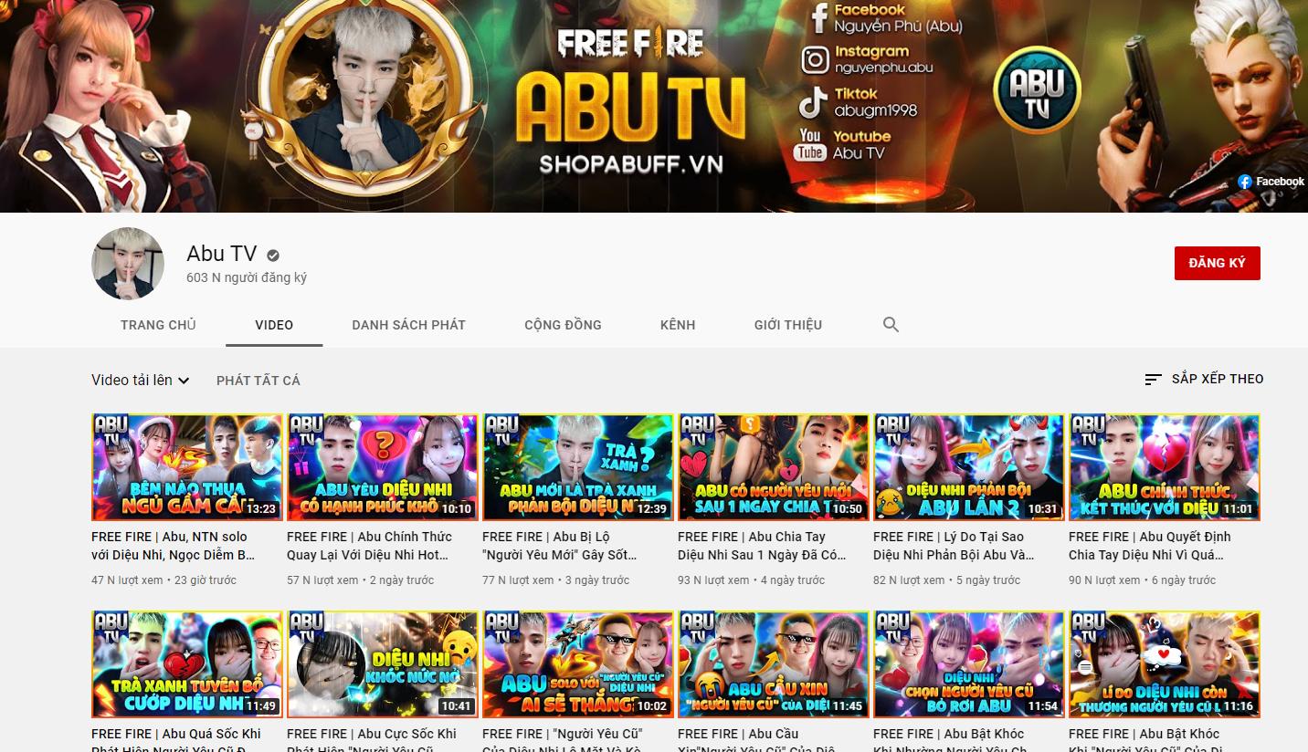 Kênh Youtube Abu TV có tích chính chủ đạt hơn 600k Sub