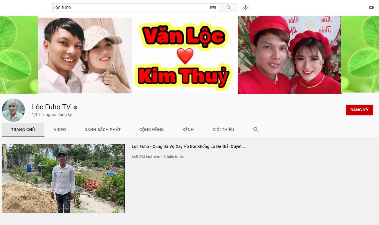 Kênh Youtube hơn 1 triệu người theo dõi và có tích xanh của Lộc Fuho
