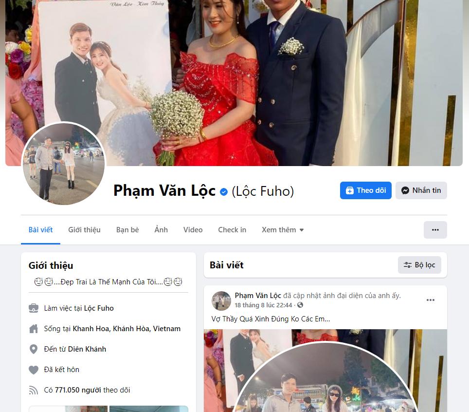 Kênh Facebook có hơn 700 nghìn người theo dõi và có tích xanh của Lộc Fuho