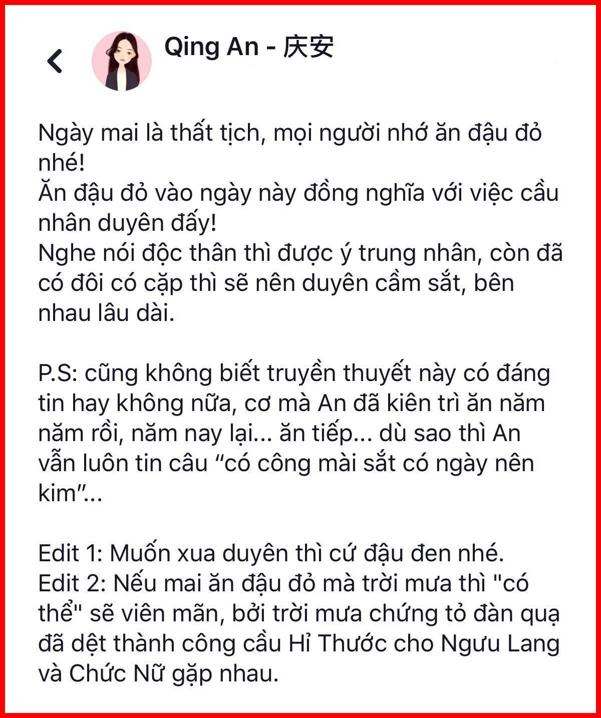 Qing An khuyên mọi người Thất Tịch ăn đậu đỏ